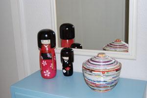 De flotte Kokeshi dukker hjemme hos Viktoria