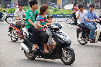 Familietransport i Vietnam